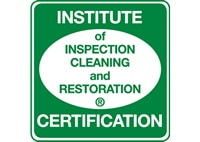 Certified by the Institute of Inspection, Cleaning, and Restoration.