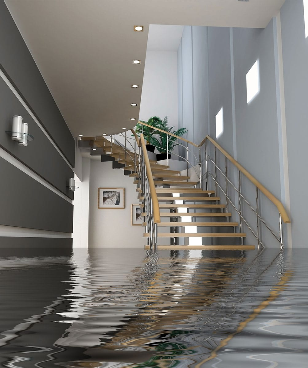 Commercial office space in flood with massive water damage