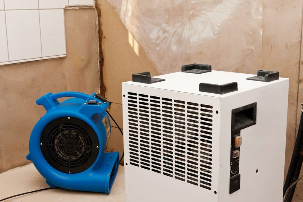 Eliminator of water damage and dryer with fan