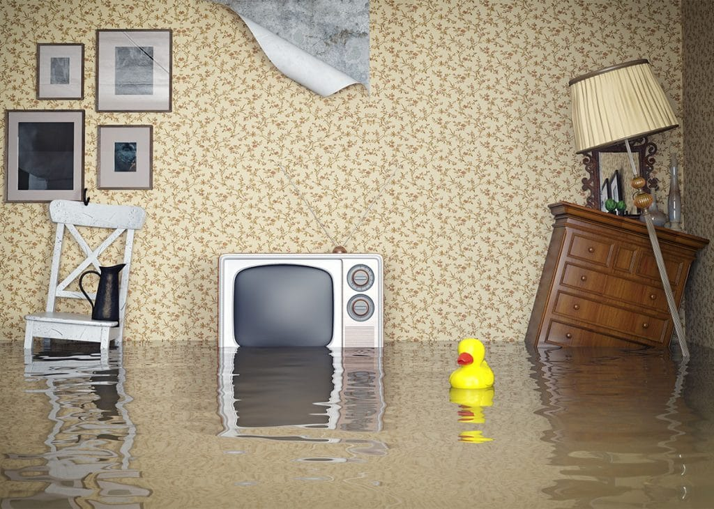 Flooded room concept in house with severe water damage