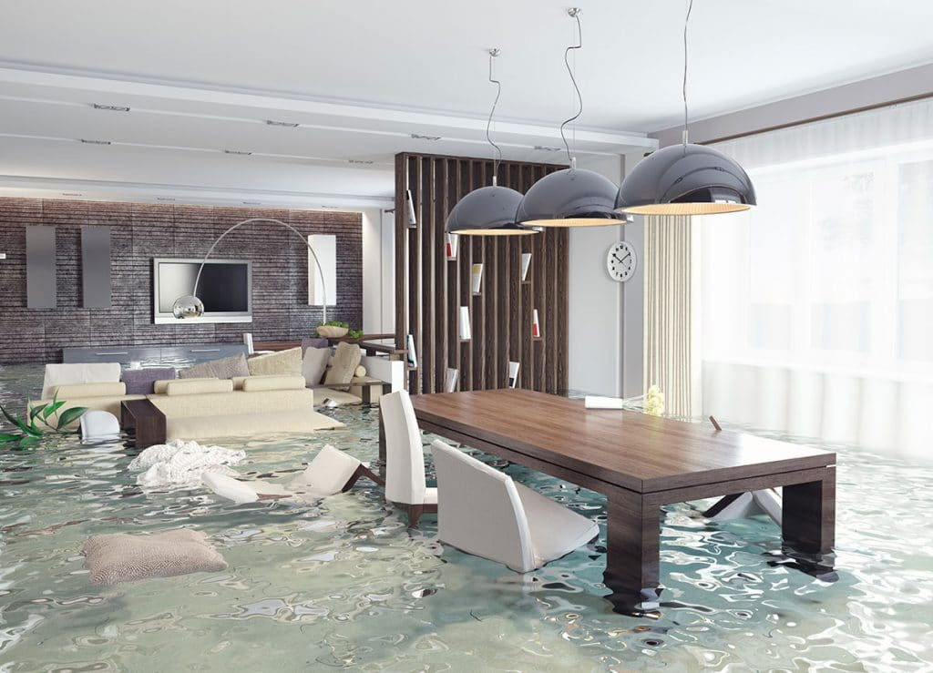 Severe flooding in luxurious interior needing water damage restoration