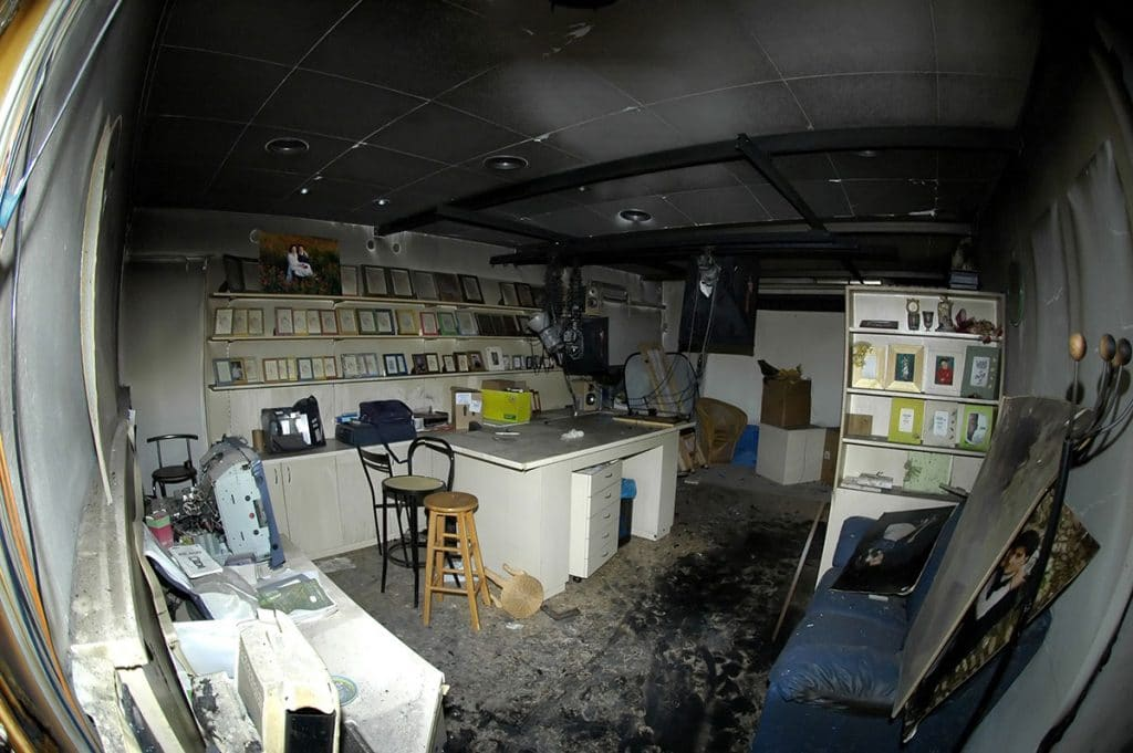 What is remaining from a studio shop after a fire inside in need of fire damage restoration